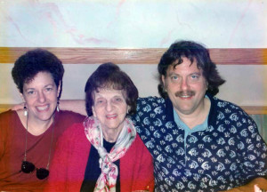 Diane with her brother and mom on her mom's 80th birthday.