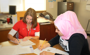 Maryam starts her day with an English language assessment.